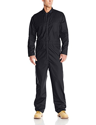 (Red Kap Men's Long Sleeve Twill Action Back Coverall, Black,)