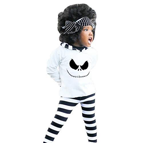 Halloween Toddler Baby Boy Girl Hoodie Shirt+ Stripe Pants Costume Outfits Set ()