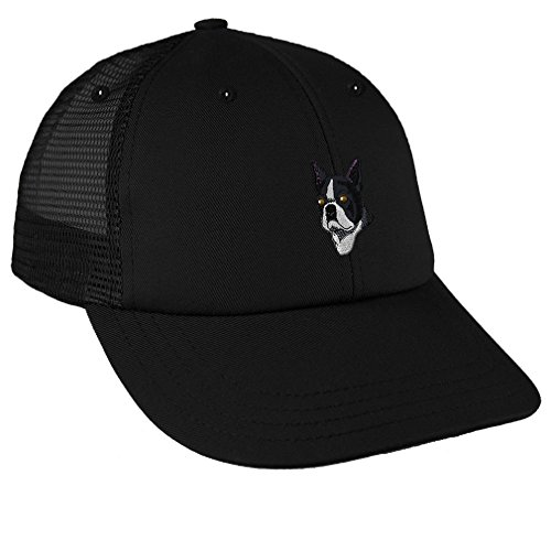 Boston Terrier Head Embroidery Design Low Crown Mesh Golf Snapback Hat Black
