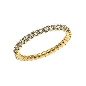 Amazon 14k Yellow Gold Dainty 0 5 Carat Diamond Wedding Eternity Band Claddagh Gold Jewelry