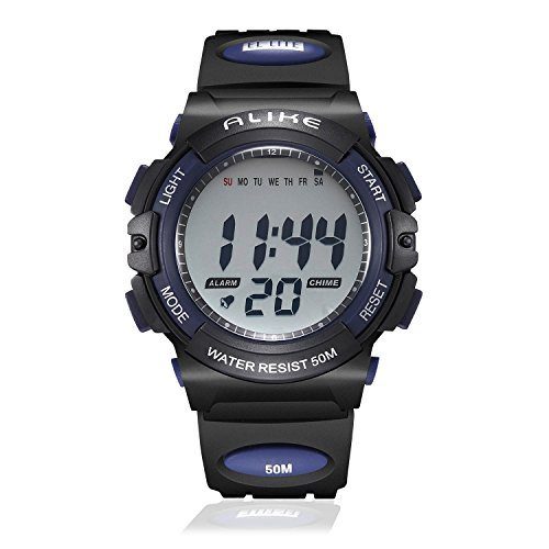 Kids Digital Sport Watch, Boys Outdoor Cool Watches Electronic Waterproof Watch with Chronograph Alarm Stopwatch Calendar - Blue - Alarm Chronograph Watch
