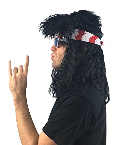 4 pc. 80s Rocker Wig Costume Set: Hairband 80's Rockstar Costume 80's Wig for Men, Women and Kids Costume - Rock Slash Halloween Party Wig (Rock Star Black 80s Wig (Rock And Roll Wigs)