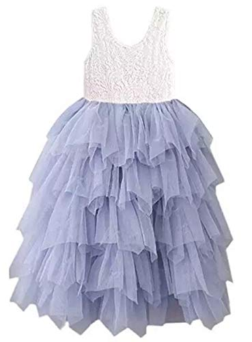 Lace Back Flower Girl Dress,Kids Cute Backless Dress Toddler Party Tulle Tutu Dresses for Baby Girls (Long Sleeveless Gray, 9-10 Years/150cm)