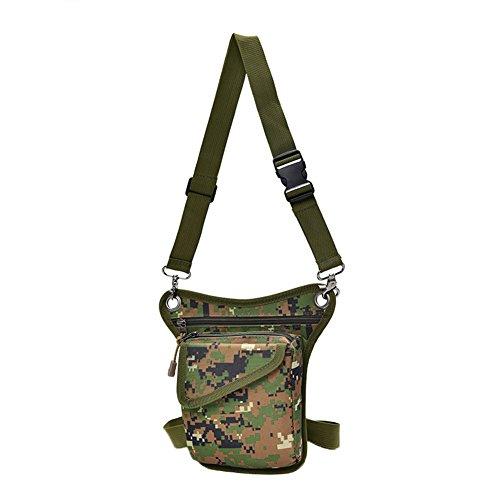 Genda 2Archer Mini Bolsa de Nylon de la Bolsa de la Pierna de la Lona de los Hombres Bolsa de Tracolla (16cm*3 cm*22 cm) (Marrón) Verde