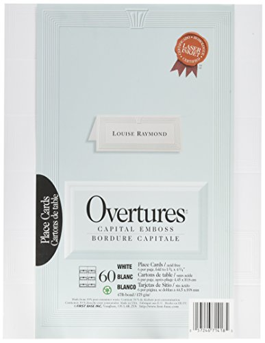 St. James Overtures Capital Emboss White Place Cards, Pack of 60 by St. James