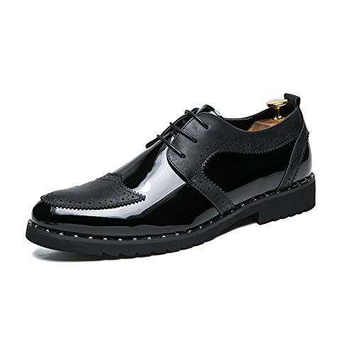 CHARM Men Italian Fashion Leather Gold/Silver Glossy Shoes Luxury Glossy Dress Party Elegant Male Footwear Splice Shoes for Men,Black,6 ()