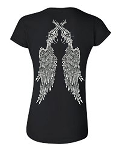 SHORE TRENDZ Women's Juniors Beautiful Crossed Pistols on Angel Wings T-Shirt BLACK (Large) ()