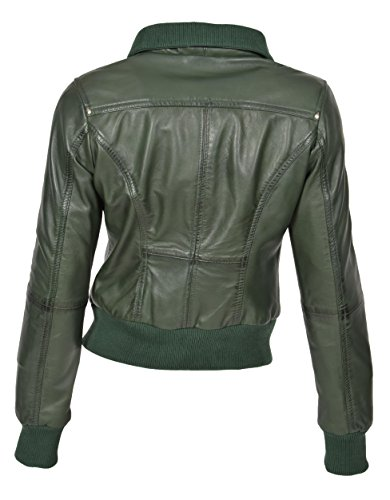 con fit cerniera Bomber Camicia verde in slim Cameron trendy fit Giubbotto pelle slim donna vR86zx8wqZ