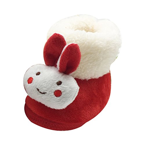 Zhhlinyuan Lovely Bebé Girls Winter Warm Plush Boot Infant Soft Cotton Shoes xsx010 Red