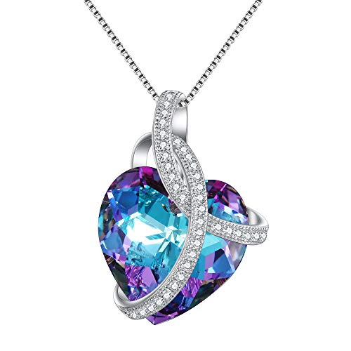 EleQueen Swarovski Crystals Heart Pendant Necklace-925 Sterling Silver-Cubic Zirconia Necklace-Gifts for Women, Box Chain 19'' Vitrail Light ()