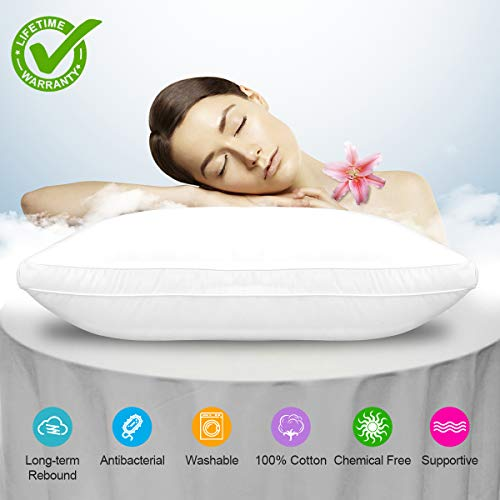 (Bed Pillow, Bed Pillows White Hypoallergenic Dust Mite Resistant with Zipper Adjustable Loft Shred Fiber, Reading Bed Rest Pillows Down for Home Hotel Collection Sleeping Bedding Side Back Sleepers)