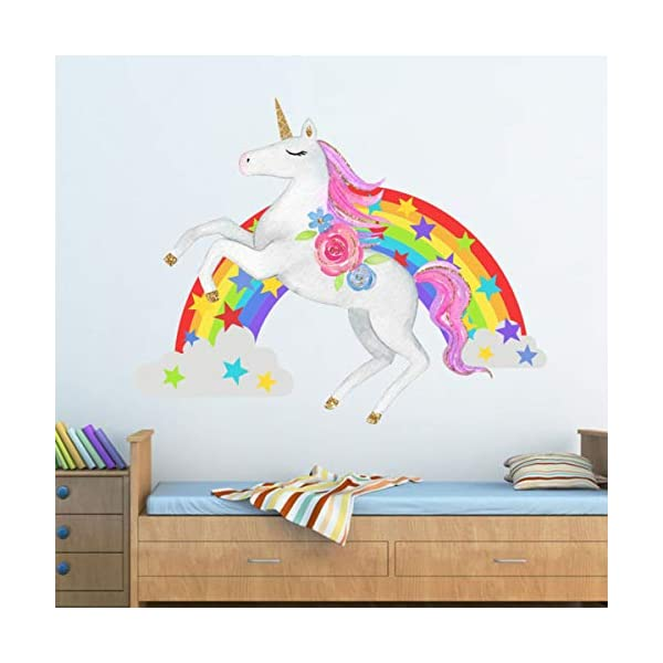 Bamsod Unicorn Wall Stickers Rainbow Kids Wall Decal Art Girls Bedroom Nursery Home Decor 11 inch x 13 inch 7