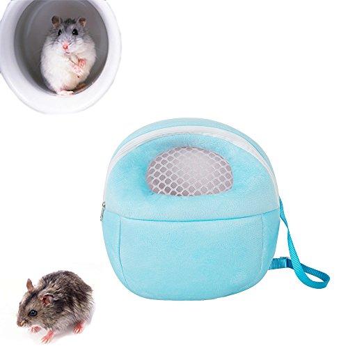 (Pevor Hedgehog Backpack Carrier - Hamster Rat Hedgehog Rabbit Pet Warm Sleeping Hanging Bag - Breathable Portable Outgoing Travel Handbags, Blue (Large) )