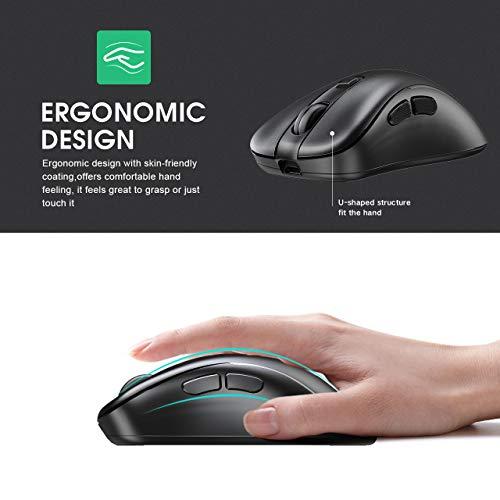 INPHIC Mouse Wireless, 【Aggiornamento】 Mouse per Computer Silenzioso e Ricaricabile USB 2.4G Ricevitore Nano USB 6 Pulsanti 1600 DPI Regolabile per PC Laptop Mac Windows MacBook Office, Nero