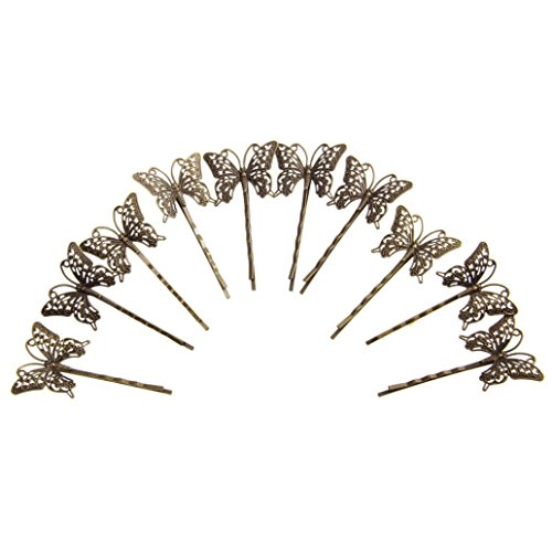super1798 10Pcs Vintage Hollow Butterfly Charm Hair Clips DIY Hairstyle Bobby Pin - Bronze