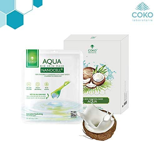 COKO Aqua Bio Skin Nanocell Mask, Coconut Water Hydrating Sheet Mask, Intensive Exfoliating Face Care with Natural Coconut Juice, Moisturizing and Soothing for All Skin Types, Anti-Aging (5 masks)