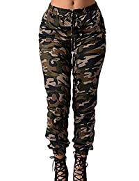 Women Casual Camouflage Print Elastic Waist Full length Pants Trousers
