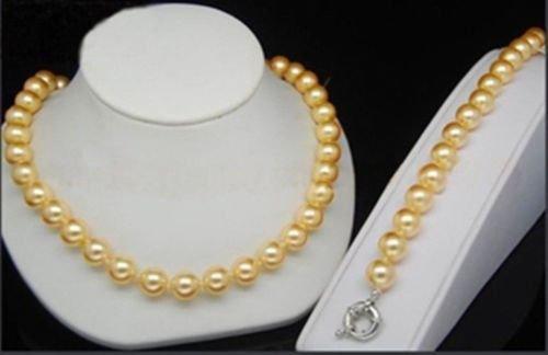Genuine 10mm Yellow South Sea Shell Pearl Earrings Bracelet Necklace 18