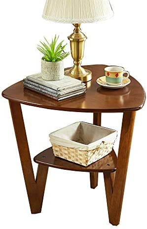 XIAODONG Solid Wood Side Table Triangle Coffee Table Telephone Table Multifunction 2 Tier Nightstand Storage Shelf,23.22 x23.22 x22.83 Easy to Move Color Brown