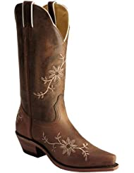 Boulet Womens Floral Embroidered Cowgirl Boot Snip Toe Tan US