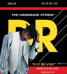 DR Strings Bass Strings Fatbeam, Marcus Miller Signature Stainless Steel Round Core Bass 45-105 - Bass Fat Beam Stainless Steel