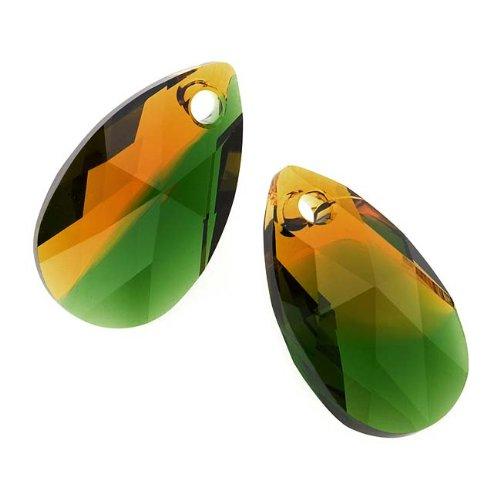 Topaz Swarovski Crystal Pendant (Swarovski Crystal, #6106 Pear Pendant 16mm, 2 Pieces, Fern Green - Topaz Blend)