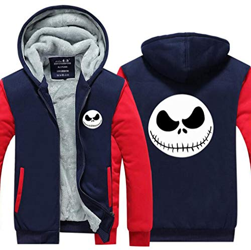 Jonikow Halloween Printed Hoodie Cosplay Costume Mens Fleece Thicken Sweatshirt Jacket (L, -