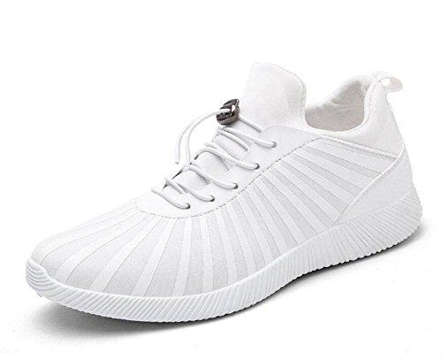 SHIXR Chaussures de sport pour hommes Chaussures d 'impression offset en tissu élastique Chaussures de sport décontractées antidérapantes , white , 39