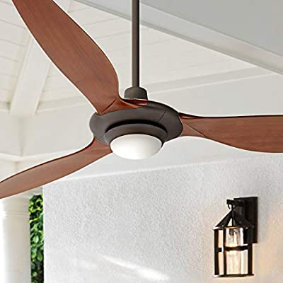 "60"" Triaire Modern Outdoor Ceiling Fan with Light Dimmable LED Oil Rubbed Bronze Walnut Damp Rated for Patio Porch - Casa Vieja"