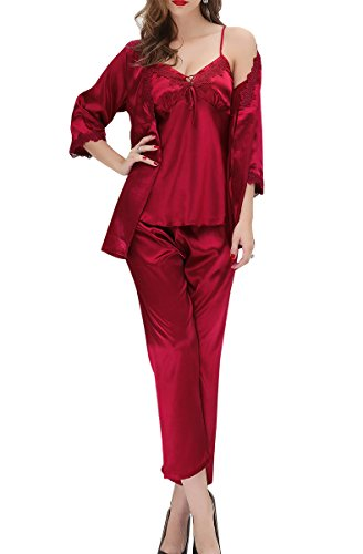 Aivtalk Women Ladies V-Neck Satin Pyjamas Set Sexy 3 PCS Red Nightwear Nightgown-XL