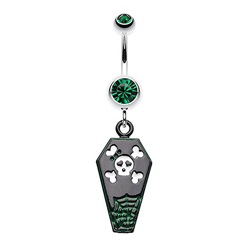 Bazooky Skull & Crossbones Coffin Belly Button Ring (Many Colors) (Green) - Gold Skull Labret