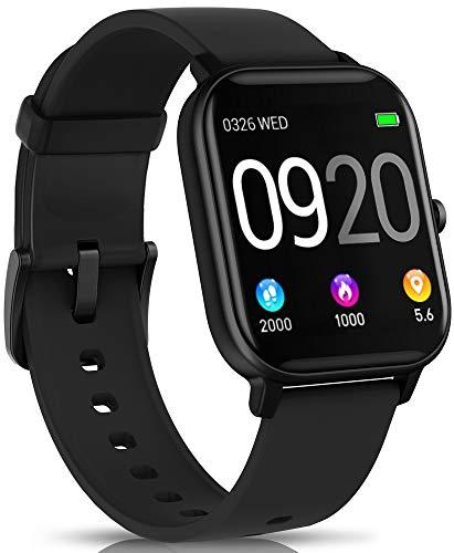 NAIXUES Smartwatch, Reloj Inteligente Impermeable IP67 Reloj Deportivo 1.4″ Pantalla Táctil Completa con Pulsómetro, Monitor de Sueño, Podómetro, Notificaciones para Mujer Hombre (Negro)