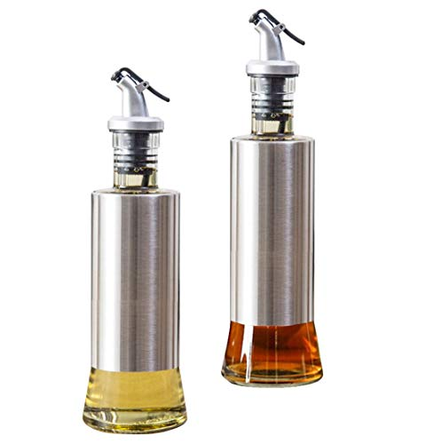 W·Z 11oz Olive Oil Dispenser, 300ml Vinegar and Soy Sauce bottle set of 2 for Kitchen (KA10010)