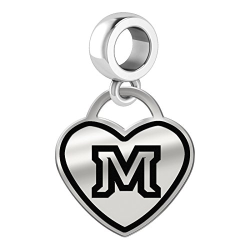 (Montana State Bobcats Border Heart Dangle Charm Fits All Beaded Charm Bracelets)