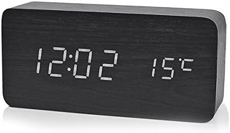 Reloj Digital Despertador de Madera con Control de Sonido y LED Brillo de la Pantalla,Operación de carga,color negro