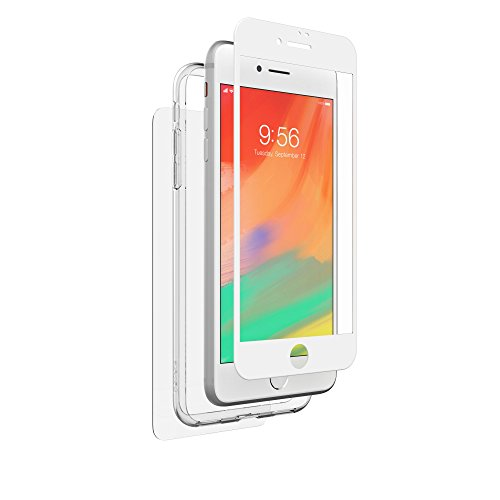 ZAGG InvisibleShield Glass+ 360 - Front + Back Screen Protection with Side Bumpers Made for Apple iPhone 8 Plus - White