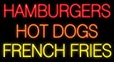 Desung Brand New 32'' Hamburgers Hot Dogs French Fries Neon Sign Custom Restaurant Food Shop Neon Lights Lamp Sports Bar Beer Signs Glass Neon Light CA65