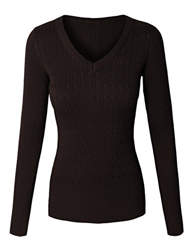 makeitmint Women's Basic V-Neck Twisted Cable Soft Knit Pullover Sweater [S-XL] Medium YISW0026_26BROWN -