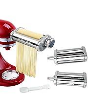 Pasta Maker Attachment Set 3-Piece for KitchenAid Stand Mixer, Pasta Sheet Roller, Spaghetti Cutter, Fettuccine Cutter, Stainless Steel