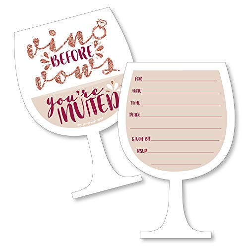 - Vino Before Vows - Shaped Fill-in Invitations - Winery Bridal Shower or Bachelorette Party Invitation Cards with Envelopes - Set of 12