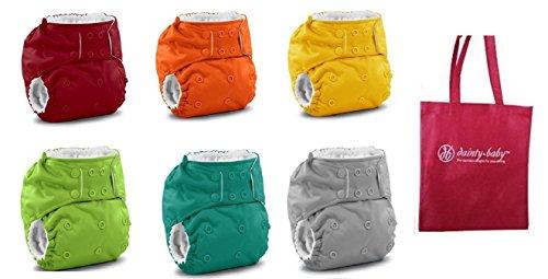 Rumparooz One Size Cloth Pocket Diaper Snaps, 6 pack, Gender Neutral Colors with Reusable Dainty Baby Bag Bundle by Rumparooz