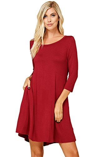 Annabelle Women's Scoop Neck Solid A-Line Fit 3/4 Sleeves Short Length Mini Tunic Dress with Two Side Slant Pockets Burgundy XXX-Large D5211X from Annabelle