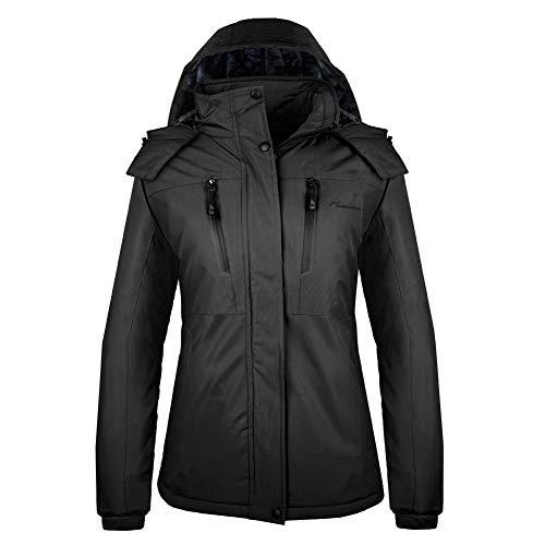 OutdoorMaster Women's Ski Jacket Basic - Winter Jacket with Elastic Powder Skirt & Removable Hood, Waterproof & Windproof (Black,XL)