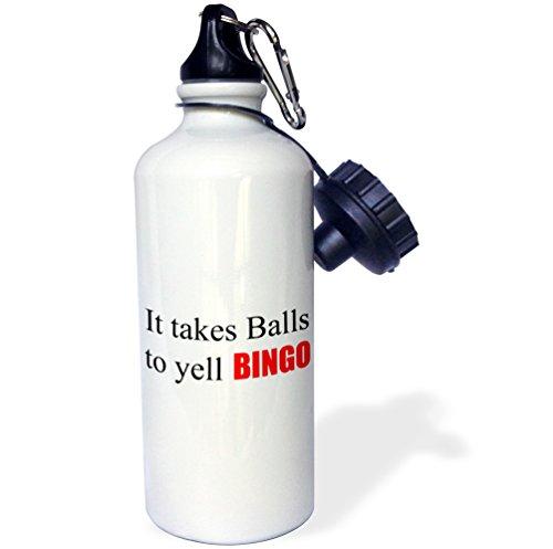 (3dRose wb_218484_1 It It takes balls to yell BINGO Sports Water Bottle, 21oz, Multicolored )