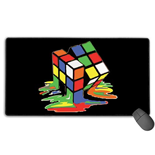 (Large Gaming Mouse Pad/Mat, Rubiks Cube Melting Cube Mousepad with Non-Slip Rubber Base for Computers Laptop, Durable Stitched)