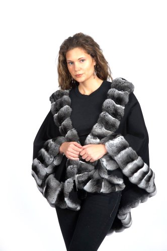 Cashmere Cape with Natural Chinchilla Border
