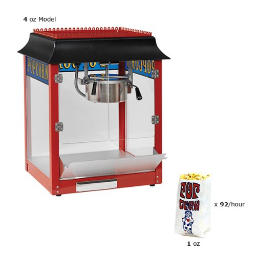 Paragon 1911 Style 4 Ounce Red Popcorn Machine for Professional Concessionaires Requiring Commercial Quality High Output Popcorn Equipment