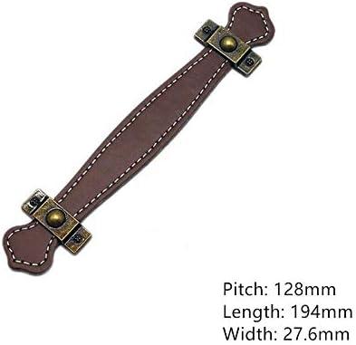 NOLOGO HHTC Handles Handbag Accessories Handmade Leather Handles 2 Pieces of Vintage Leather Furniture Handles 96 mm 128 mm Door Belt Handles Drawer Handles Color : D Cabinet Drawers