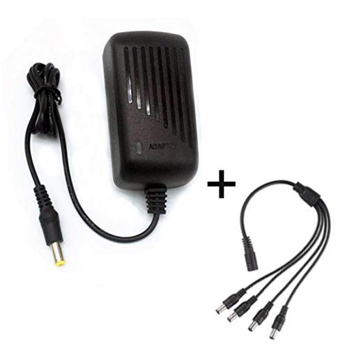 TYZEST Security Camera Power Adapter 12V 2A 100V-240V AC to DC 4-Way Power Splitter Cable FCC Certified LED Power Adapter Transformers-Fits Analog/AHD DVR/Camera, RGB LED Strip Lights