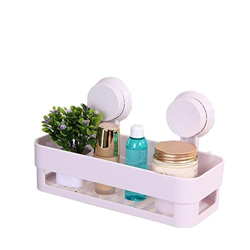 Gotd Strong Suction Shower Caddy Bathroom Shelf Storage Organization with Rack Basket Sucker Cup for Shampoo, Conditioner, Soap (White)